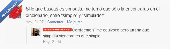 diccionario,fail,listo,simpatía,simple,simulador