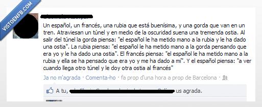 chiste,español,francés,rubia,túnel
