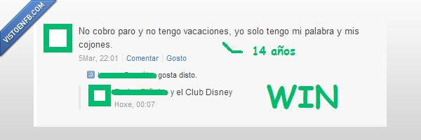 14 años,Disney,niño,paro,trabajo,vacaciones