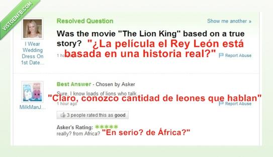 africa,historia real,primera cita,rey león,rubia,vestido novia,Yahoo answers