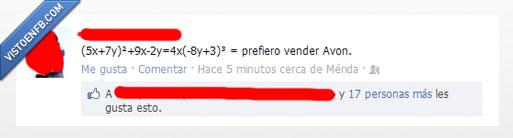 Avon,formula,matematicas,me rindo