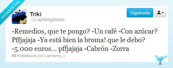 5000 euros,azúcar,café,Remedios Cervantes,sal