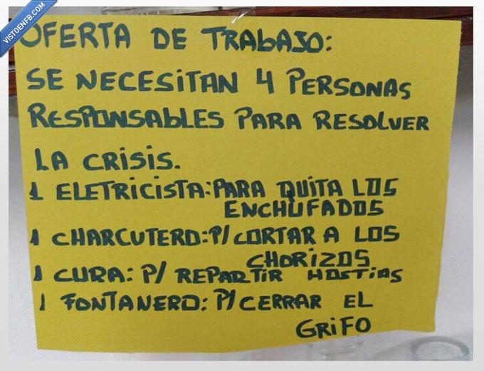 charcutero,crisis,cura,electricista,fontanero,oferta,trabajo