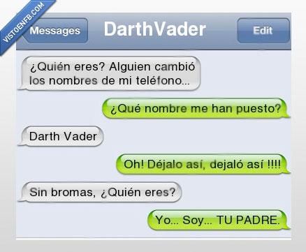 conversacion,Darth,Darthvader,iPhone,nombres,padre,Vader