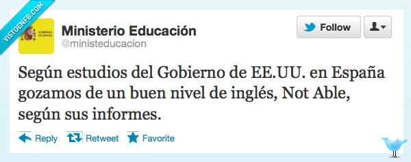 buen,eeuu,españa,estados unidos,estudio,gobierno,ingles,nivel,not able,notable,segun