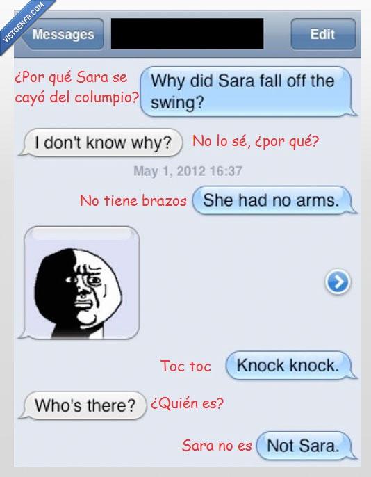 brazos,columpio,humor negro,Oh God Why?,Sara