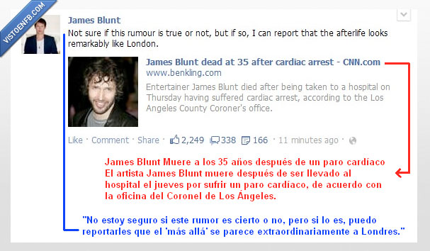 james blunt,londres,muerte,rumor