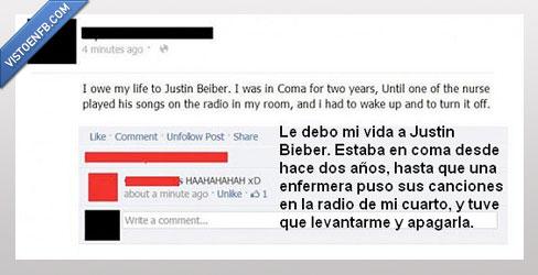 apagar,coma,Justin Bieber,música,radio,vida