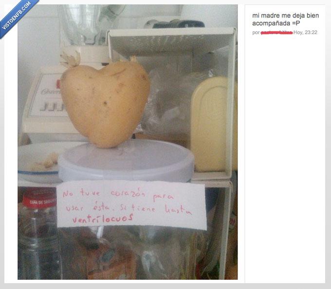 acompañada,corazón,mamá,patata,sola,ventrículos