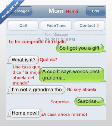 abuela,casa,conversacion,hijo,madre,sorpresa,taza