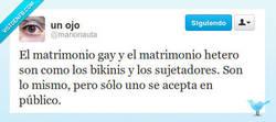 Enlace a El matrimonio gay es como ir en sujetador por @marionauta