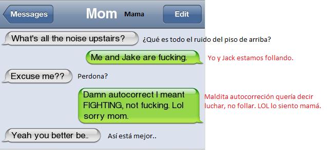 autocorrector,Jake,luchar,mamá,whatsapp,yo