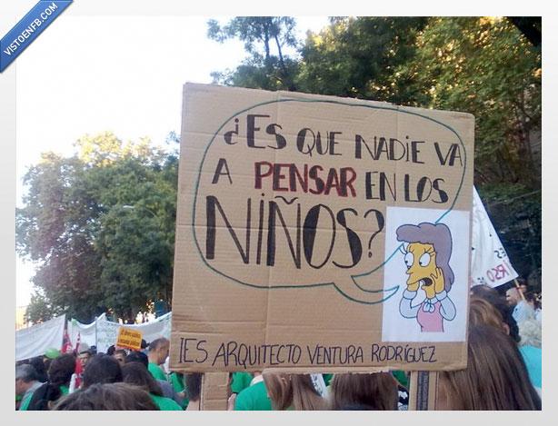 cartel,estudiantes,lovejoy,manifestación,pensar en los niños,recortes,simpson