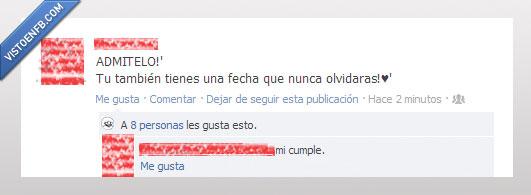 a la mierda el romanticismo,cumpleaños,facebook,Fecha,troll