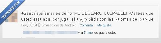 amar,angry birds,culpable,delito,estado,jugar,paloma,parque,tuenti