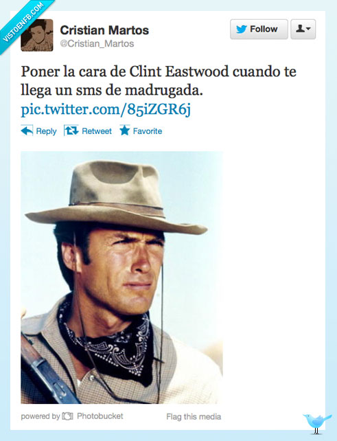 cara,Clint Eastwood,leer,madrugada,Sms,twitter
