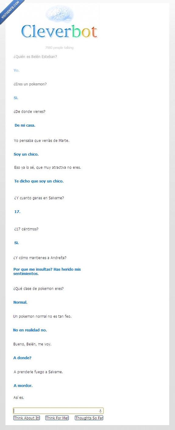 Belén Esteban,Cleverbot,conversación real,respuestas,tiempo libre