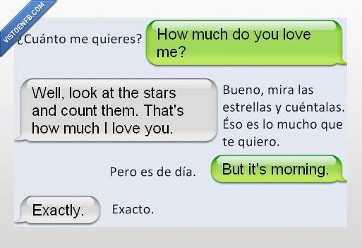 conversación,cuenta,de día,estrellas,exacto,te quiero