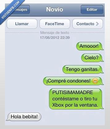 Conversación,Iphone,novia,rompe,ventana,Xbox