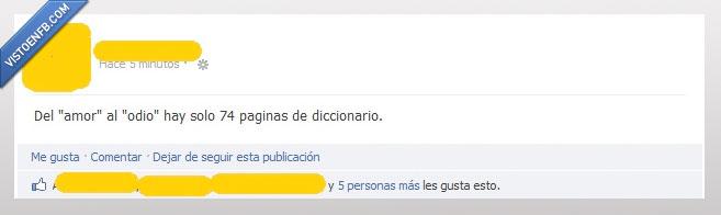 amor,diccionario,odio,pagina