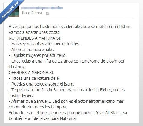 converse rosas,Islam,Justin Bieber,Mahoma,ofende,perro,samuel