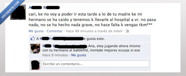 battlefield,excusa,hermana,hermano,novio,play