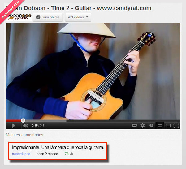 comentario,gorro,guitarrista,Lampara,youtube