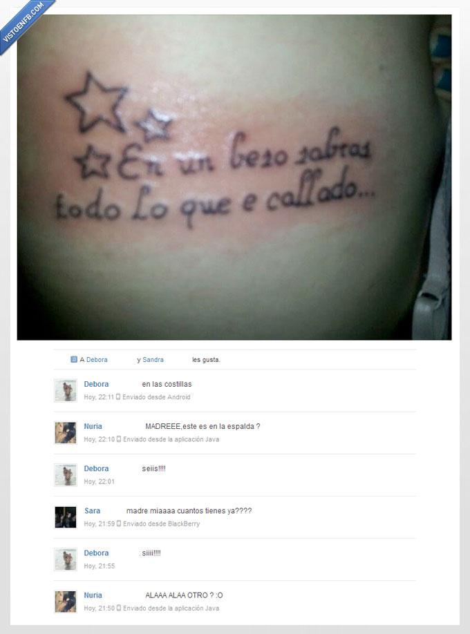 amigas,beso,choni,fail,ortografia,pobre,tattoo,tatuaje