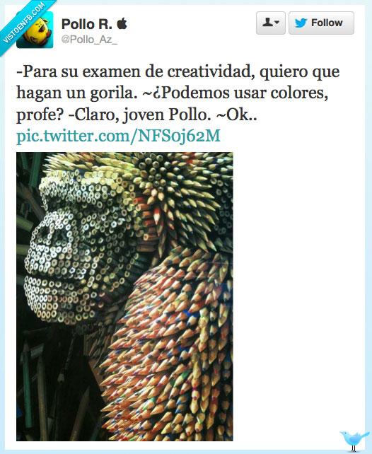 colores,creatividad,diseño,examen,gorila,profe,puntillas