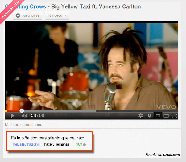 counting crows,pelo,piña,talento,video,youtube