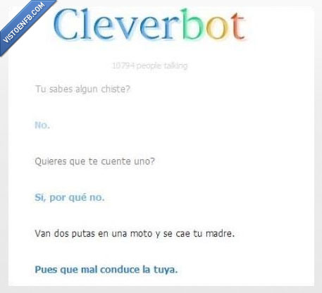 cae,Cleverbot. madre,conduce,mal,moto,trolled troll