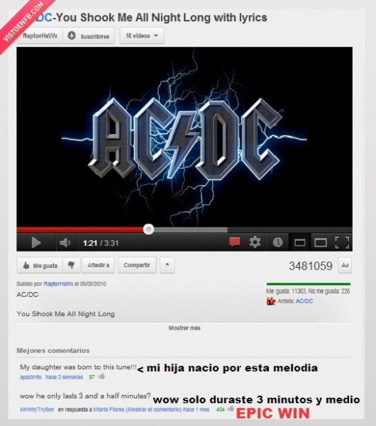 acdc,cancion,comentario,durar,minutos,precoz,tres,troll,youtube