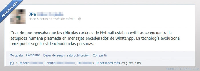 whatsapp hotmail cadenas estupidez humana tecnología