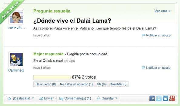 apu,badulaque,dalai lama,donde,papa,quick-e-mart,simpsons,vaticano,vive,vivir,yahoo