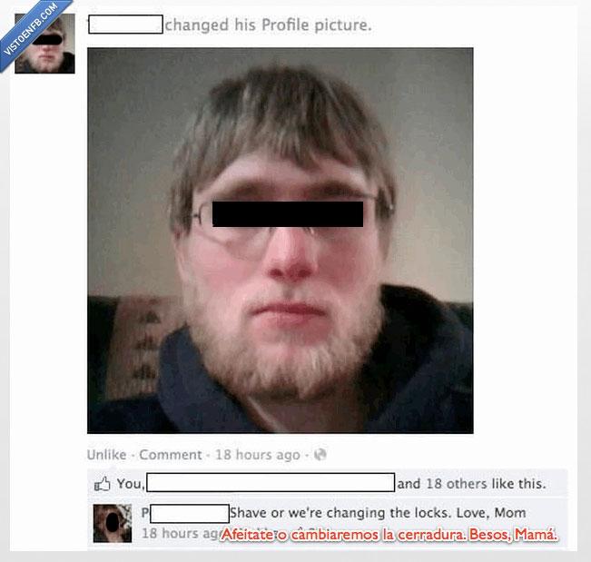 afeita,barba,cambiar,cerradura,madre