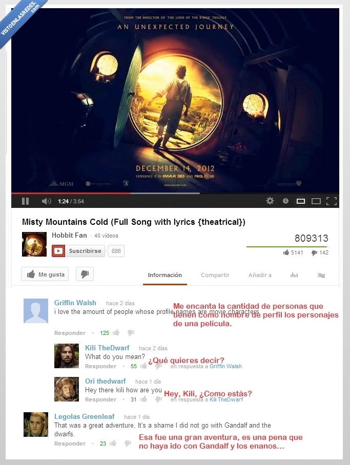 comentarios,el señor de los anillos,frikis,legolas,pelicula,soundtrack,youtube