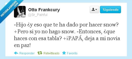novia,padre,papa,snow,tabla