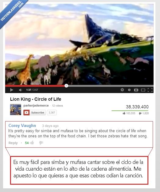 cebras,ciclo de la vida,mufasa,rey león,simba,youtube