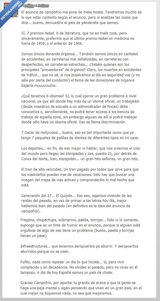 España,Nube de humo,Verdad tras el anuncio de Campofrío,verdades a medias,Vergüenza