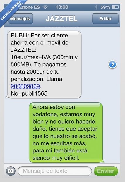 amor imposible,jazztel,sms