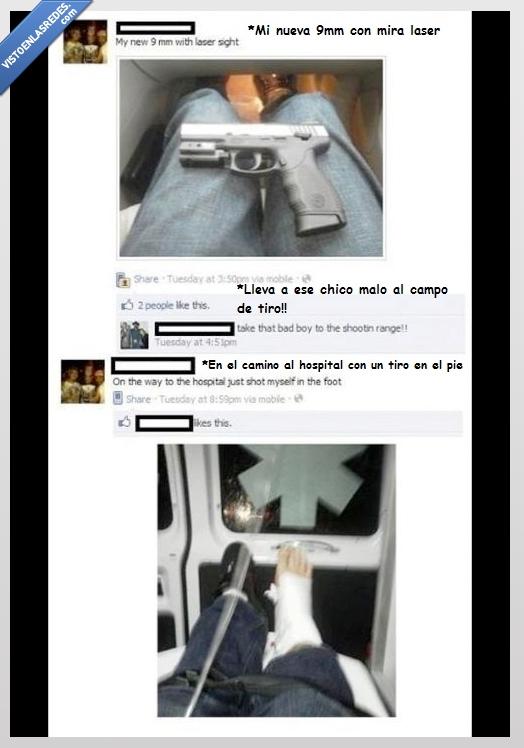 9mm,accidente,arma,hospital,laser,pierna,pistola,reto