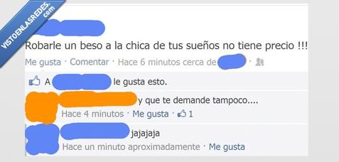 beso,chica,Chistaco,demande,Facebook,Risa,robar,sueños,tampoco