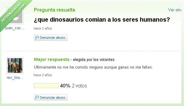 comer,dinosaurios,humanos,T-rex,Yahoo