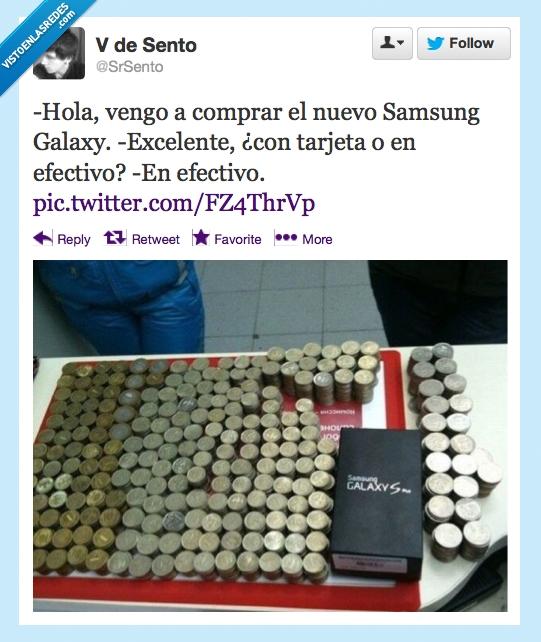 efectivo,monedas,Samsung Galaxy,tarjeta