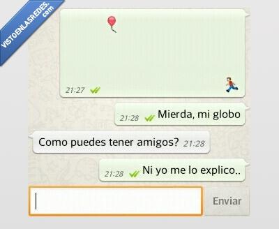 Amigos,emoticono,escapa,globo,WhatsApp
