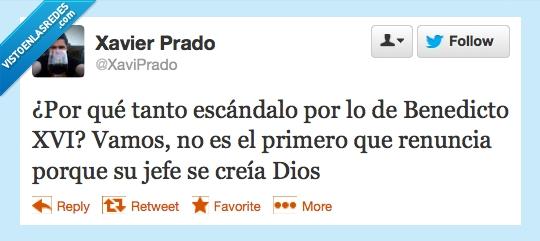 Benedicto XVI,cree,creer,creía,Dios,escándalo,jefe,renuncia,twitter