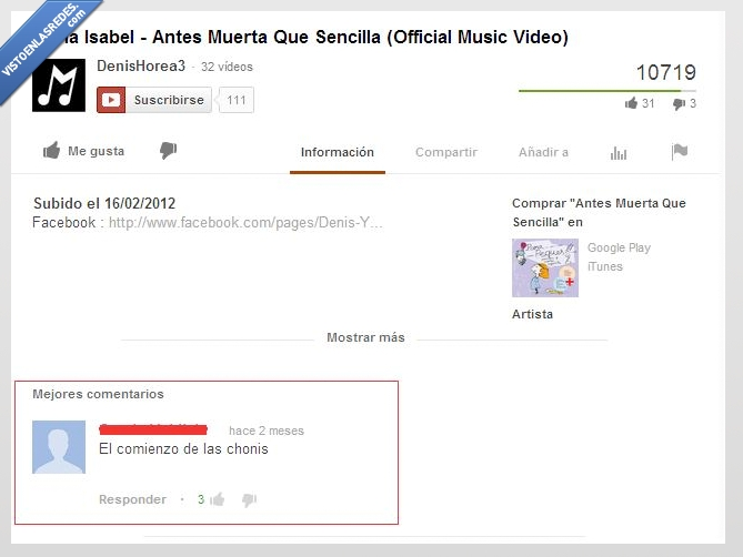 comentario,Comienzo de las chonis,María Isabel,youtube