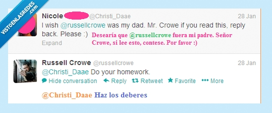 deberes,do your homework,fans,padre,russel crowe