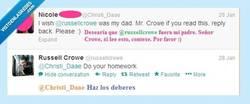 Enlace a Gladiador y twittpadrazo, @russellcrowe es muy jefe