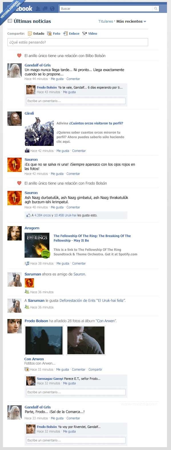 aragorn,facebook,frodo bolson,gandalf,sauron,señor de los anillos,tarde